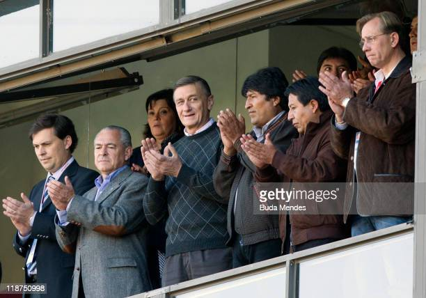 President Evo Morales of Bolivia during a match as part of Group A of Copa America 2011 at Brigadier Estanislao Lopez Stadium on July 10 2011 in...