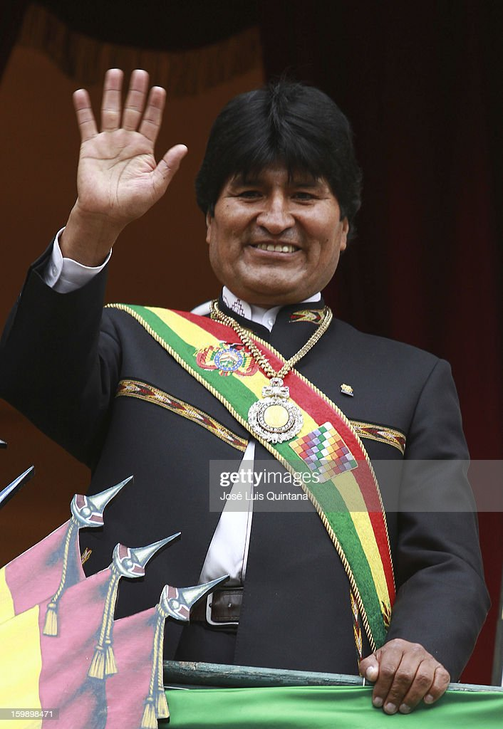 President Evo Morales salutes from the balcony of the government palace Official to Social Organizations during the celebration of the third anniversary of the founding of the Plurinational State of Bolivia on the January 22, 2013 in La Paz, Bolivia.