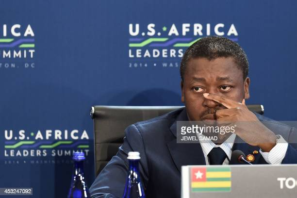 President Faure Essozimna Gnassingbe of Togo attends the 'Session 1 Investing in Africas Future' of the USAfrica Leaders Summit in Washington DC on...
