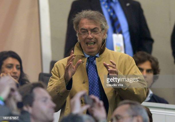 President FC Inter Milan Massimo Moratti attends the Serie A match between FC Internazionale Milano and AS Roma at Stadio Giuseppe Meazza on October...