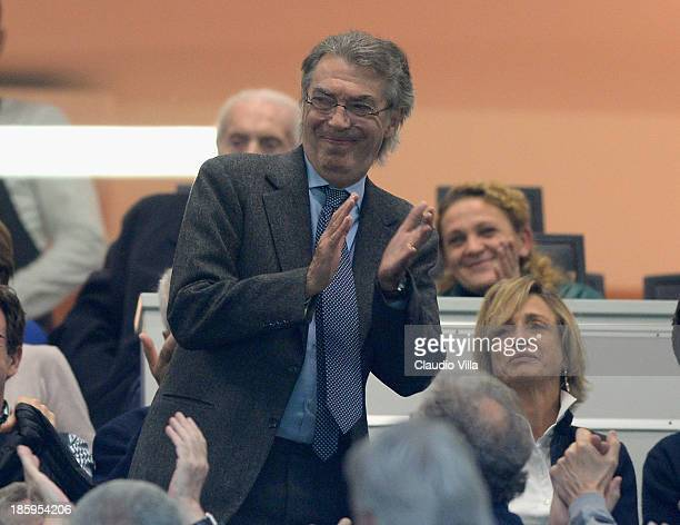 President FC Inter Milan Massimo Moratti attends the Serie A match between FC Internazionale Milano and Hellas Verona at Stadio Giuseppe Meazza on...