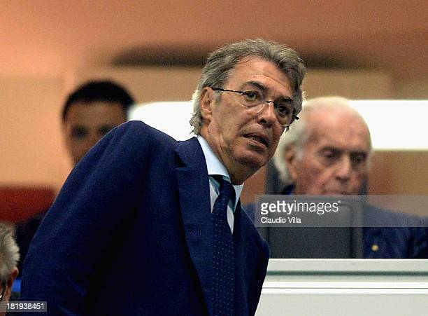 President FC Inter Milan Massimo Moratti during the Serie A match between FC Internazionale Milano and ACF Fiorentina at Giuseppe Meazza Stadium on...