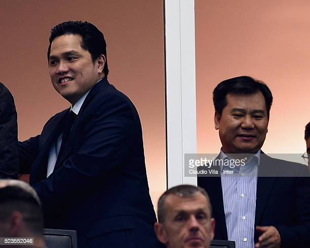 President FC Internazionale Erick Thohir and CEO Suning Jindong Zhang attend the Serie A match between FC Internazionale Milano and Udinese Calcio at...