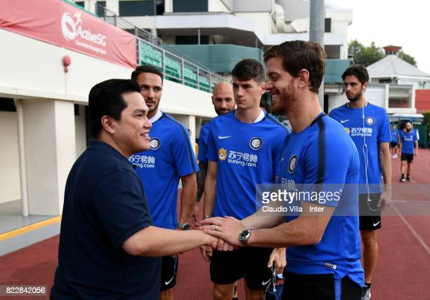 President FC Internazionale Erick Thohir and Cristian Ansaldi of FC Internazionale chat prior to the training session at Bishan Sports Hall on July...
