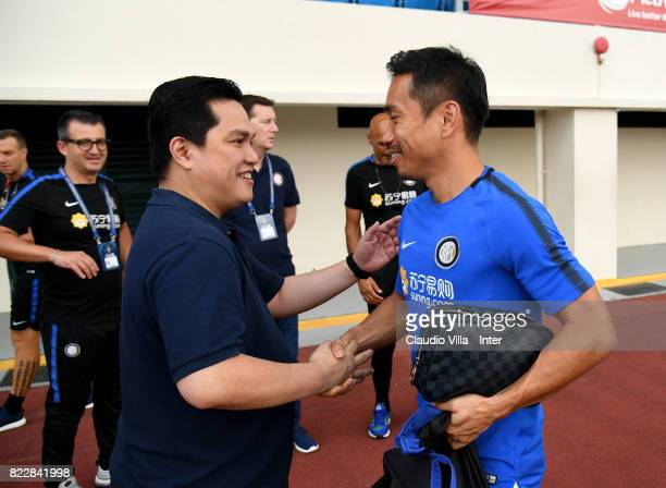 President FC Internazionale Erick Thohir and Yuto Nagatomo of FC Internazionale chat prior to the training session at Bishan Sports Hall on July 26...