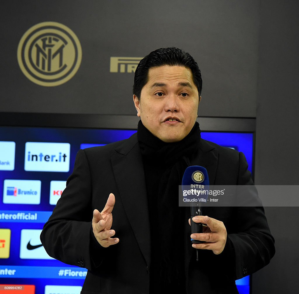 President FC Internazionale <a gi-track='captionPersonalityLinkClicked' href=/galleries/search?phrase=Erick+Thohir&family=editorial&specificpeople=9531719 ng-click='$event.stopPropagation()'>Erick Thohir</a> speaks to the media during a press conference at the club's training ground at Appiano Gentile on February 13, 2016 in Como, Italy.