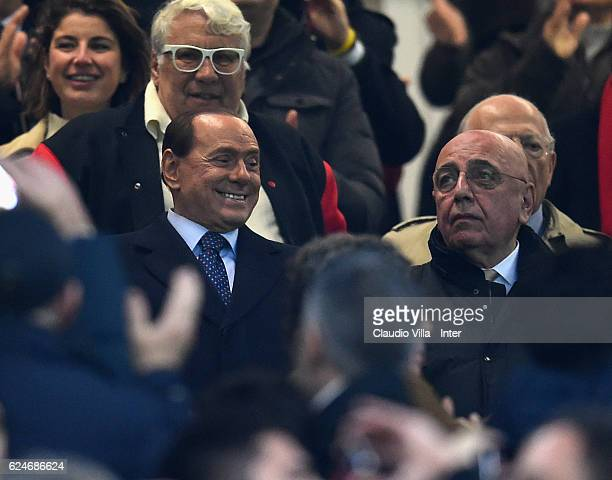 President FC Milan Silvio Berlusconi and CEO Adriano Galliani attend prior to the Serie A match between AC Milan and FC Internazionale at Stadio...