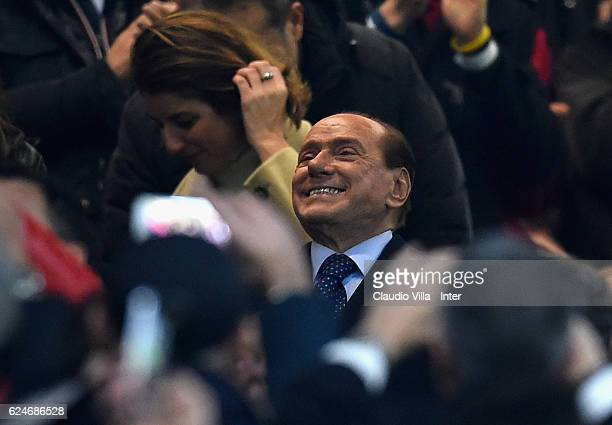 President FC Milan Silvio Berlusconi attends prior to the Serie A match between AC Milan and FC Internazionale at Stadio Giuseppe Meazza on November...