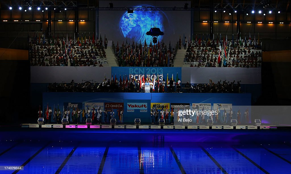 President Fernando Carpena speaks during the Opening Ceremony of the 15th FINA World Championships at Palau Sant Jordi on July 19, 2013 in Barcelona, Spain.