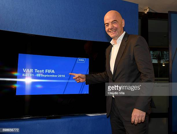President FIFA Gianni Infantino poses for a photo during FIFA First 'offline' VAR test in Bari Press Conference at Stadio San Nicola on September 1...