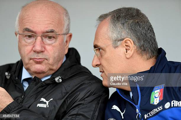 President FIGC Carlo Tavecchio and Claudio Lotito during Italy Training Session at Stadio San Nicola on September 3 2014 in Bari Italy