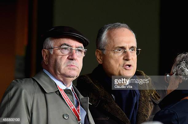 President FIGC Carlo Tavecchio and Claudio Lotito prior to the UEFA EURO 2016 qualifier between Norway and Italy at Ullevaal Stadion on September 9...