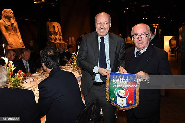 President FIGC Carlo Tavecchio and Giuseppe Marotta attend during the Italian Football Federation Gala Dinner at Turin Egyptian Museum on October 5...