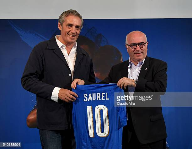 President FIGC Carlo Tavecchio and Mayor of Montpellier Philippe Saurel attend at Casa Azzurri on June 14 2016 in Montpellier France