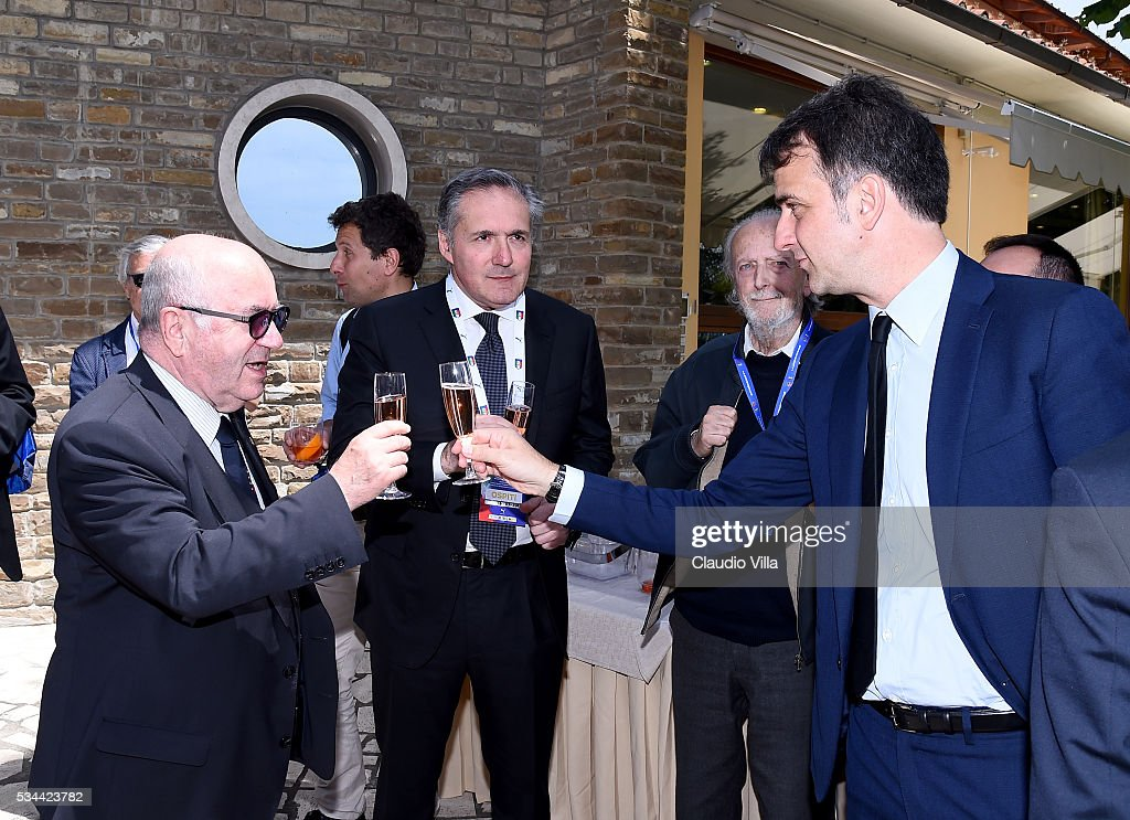 President FIGC <a gi-track='captionPersonalityLinkClicked' href=/galleries/search?phrase=Carlo+Tavecchio&family=editorial&specificpeople=5365308 ng-click='$event.stopPropagation()'>Carlo Tavecchio</a>, COO FCA Alfredo Altavilla and General Director FIGC Michele Uva attend Unveil New Panda Azzurri Car at Coverciano on May 26, 2016 in Florence, Italy.