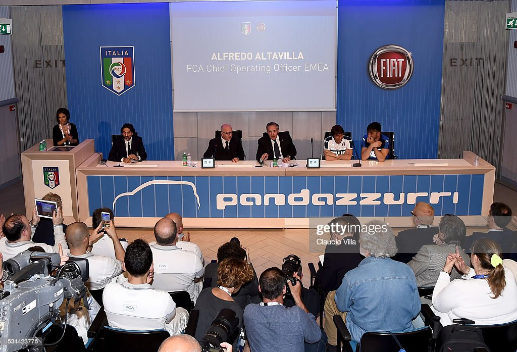 President FIGC <a gi-track='captionPersonalityLinkClicked' href=/galleries/search?phrase=Carlo+Tavecchio&family=editorial&specificpeople=5365308 ng-click='$event.stopPropagation()'>Carlo Tavecchio</a>, COO FCA Alfredo Altavilla, Head Coach Italy <a gi-track='captionPersonalityLinkClicked' href=/galleries/search?phrase=Antonio+Conte&family=editorial&specificpeople=2379002 ng-click='$event.stopPropagation()'>Antonio Conte</a> and <a gi-track='captionPersonalityLinkClicked' href=/galleries/search?phrase=Gianluigi+Buffon&family=editorial&specificpeople=208860 ng-click='$event.stopPropagation()'>Gianluigi Buffon</a> during a press conference for the Unveil New Panda Azzurri Car at Coverciano on May 26, 2016 in Florence, Italy.