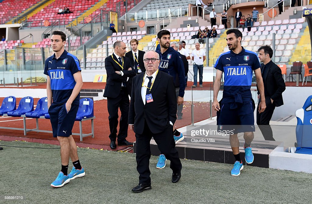 President FIGC <a gi-track='captionPersonalityLinkClicked' href=/galleries/search?phrase=Carlo+Tavecchio&family=editorial&specificpeople=5365308 ng-click='$event.stopPropagation()'>Carlo Tavecchio</a> looks on prior to the international friendly between Italy and Scotland at Ta Qali Stadium on May 29, 2016 in Malta, Malta.