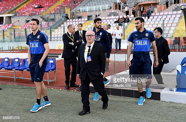 President FIGC Carlo Tavecchio looks on prior to the international friendly between Italy and Scotland at Ta Qali Stadium on May 29 2016 in Malta...
