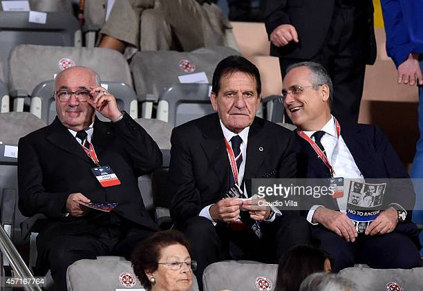 President FIGC Carlo Tavecchio Mario Macalli and Claudio Lotito during the EURO 2016 Group H Qualifier match between Malta and Italy at Ta' Qali...