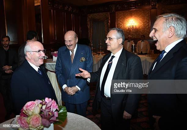 President FIGC Carlo Tavecchio President Gruppo 24 ORE Benito Benedini Claudio Lotito and President Infront Italy Marco Bogarelli during the Federal...