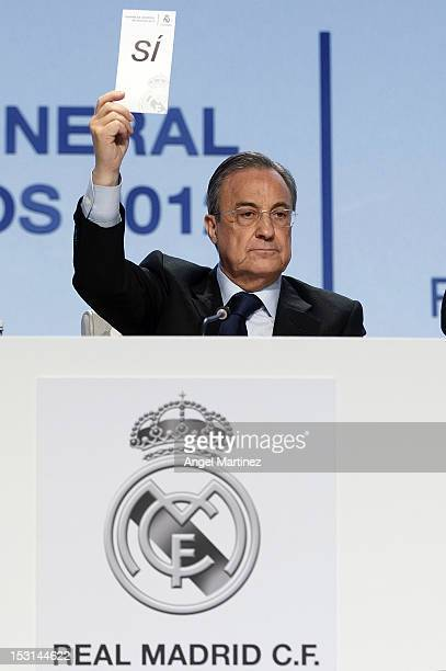 President Florentino Perez votes during the Real Madrid General Meeting 2012 at Ifema on September 30 2012 in Madrid Spain