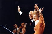 President Ford and Betty Ford wave to the crowd at the Republican National Convention in Kansas City Missouri August 19 1976 The former President...