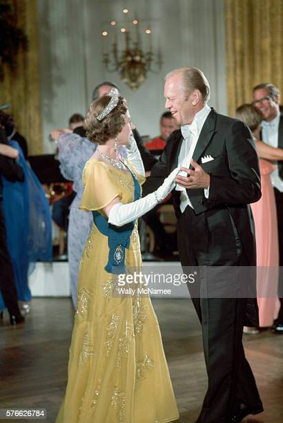 President Ford dances with Queen Elizabeth at a White House State dinner She is being honored during her visit for her participation in the American...