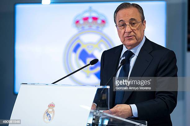 President Forentino Perez of Real Madrid CF gives a speech before giving Cristiano Ronaldo a trophy for alltime top scorer of Real Madrid CF at...
