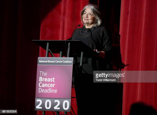 President Fran Visco speaks onstage at National Breast Cancer Coalition Fund's 17th Annual Les Girls Cabaret at Avalon Hollywood on October 15 2017...