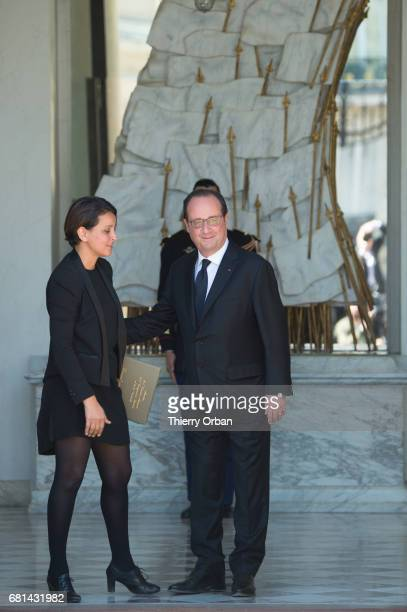 President Francois Hollande greets French Minister of National Education Higher Education and Research Najat VallaudBelkacem as they leave Hollande's...
