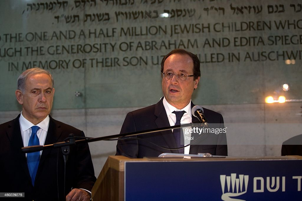 President Francois Hollande of France talks to the press with Israeli Prime Minister Benjamin Netanyahu during a visit to the Yad Vashem Holocaust Memorial on November 17, 2013 in Jerusalem, Israel. Yad Vashem commemorates the six million Jews killed by the Nazis during World War II.