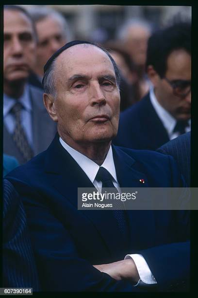 President Francois Mitterrand at the anniversary commemoration of the raid on Paris from July 1617 1942 during which 13152 Jews were deported to...