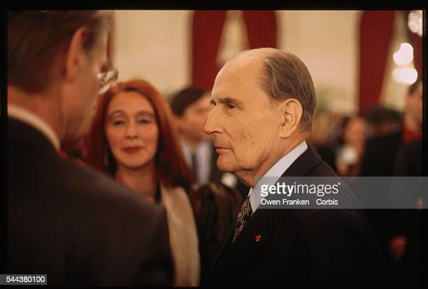 President Francois Mitterrand of France greets visitors at the dedication of the Richelieu Wing of the Louvre Museum in 1993