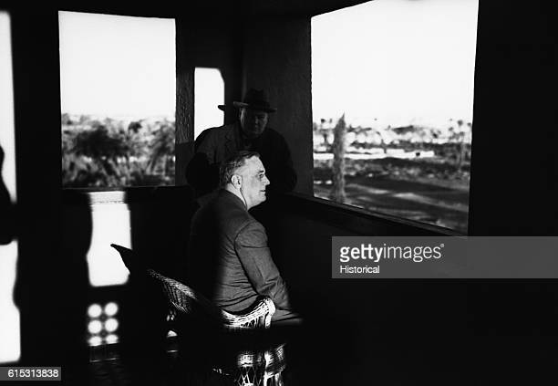 President Franklin D Roosevelt and Prime Minister Winston Churchill visit at Marrakesh French Morocco on January 24 following the Casablanca...