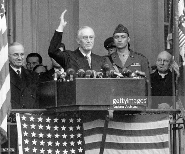 President Franklin D Roosevelt gives his fourth Inaugural speech January 20 1945 outside the south portico of the White House in Washington DC