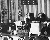President Franklin D Roosevelt is pictured during the dramatic moments before the joint session of Congress December 8th as he asked Congress to...