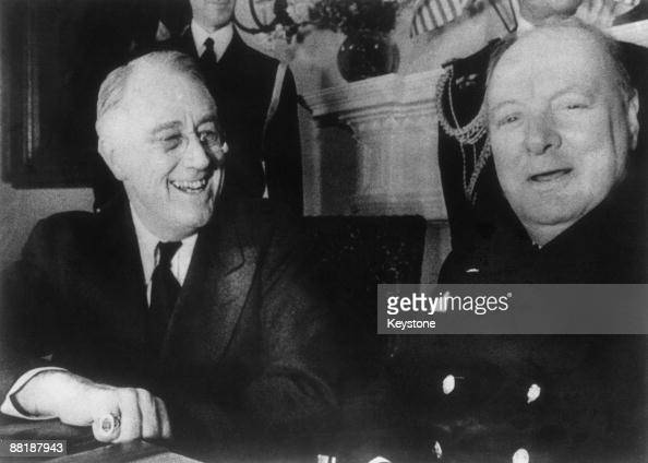US President Franklin D Roosevelt with British Prime Minister Winston Churchill at the White House Washington DC December 1941