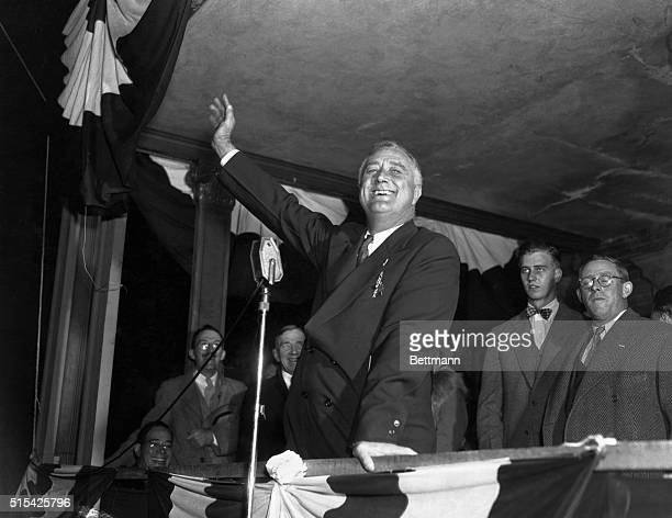 President Franklin D Rossevelt on the balcony of the Nelson house at Puoghkeepsie makes his last stand of the Preseidential campaign this speech to...