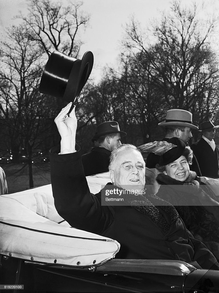 President Franklin Delano Roosevelt and Eleanor Roosevelt return to the White House from the Capitol after the President's third inauguration