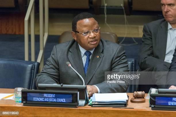 President Frederick Musiiwa Makamure Shava is seen offering his remarks Regarding the implementation of the Sustainable Development Goals framework...