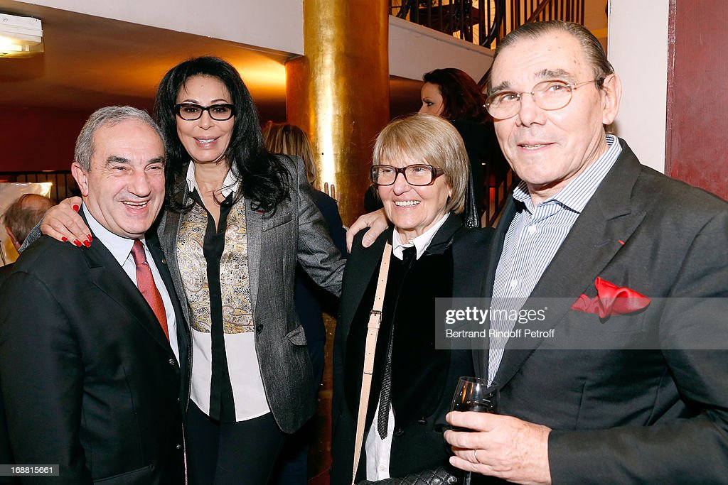 President French Tennis Federation Jean Gachassin (1st L) with his wife 'Minou' (2nd R), French Minister <a gi-track='captionPersonalityLinkClicked' href=/galleries/search?phrase=Yamina+Benguigui&family=editorial&specificpeople=615509 ng-click='$event.stopPropagation()'>Yamina Benguigui</a> (2nd L) and Michel Corbiere (1st R) attend 'Ninon, Lenclos ou La Liberte' Theater Play on May 15, 2013 in Paris, France.