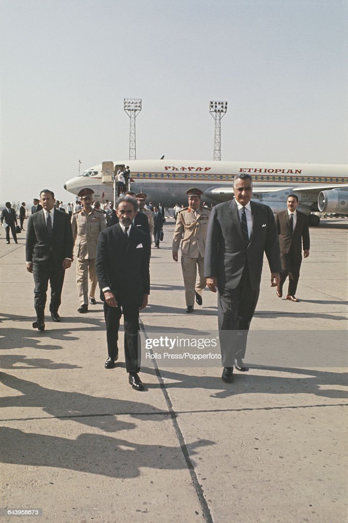 President Gamal Abdel Nasser of Egypt (1918-1970) welcomes Emperor Haile Selassie of Ethiopia (1892-1975) at Cairo airport in Egypt on 14th June 1969. Nasser succeeded Selassie as Chairman of the Organisation of African Unity.