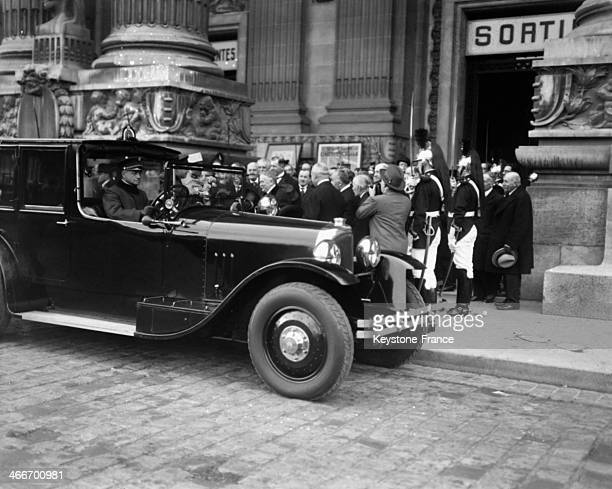 President Gaston Doumergue leaving the Wireless Telegraphy exhibition at the Grand Palais in 1928 in Paris France