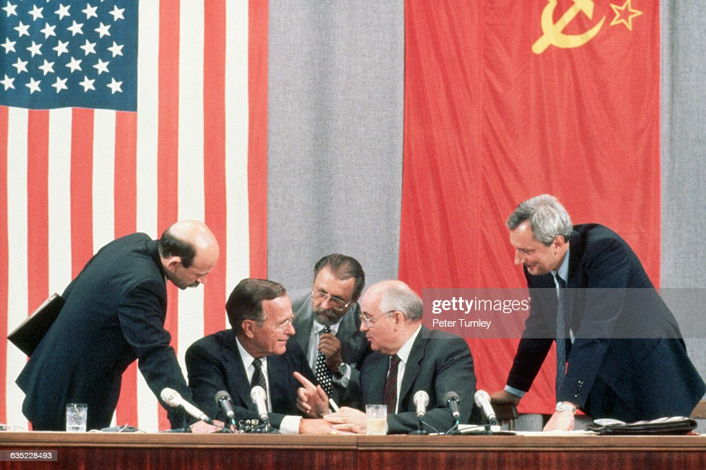 U.S. President George Bush and Soviet leader <a gi-track='captionPersonalityLinkClicked' href=/galleries/search?phrase=Mikhail+Gorbachev&family=editorial&specificpeople=93773 ng-click='$event.stopPropagation()'>Mikhail Gorbachev</a> laugh together at a joke during the 1991 Moscow Summit.