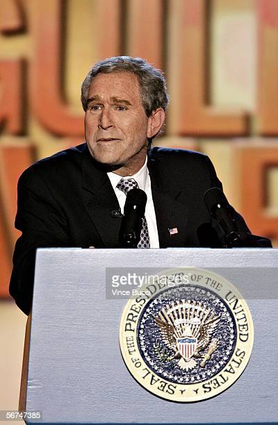 President George Bush impersonator Steve Bridges addresses the audience during the 2006 Writers Guild Awards held at The Hollywood Palladium on...