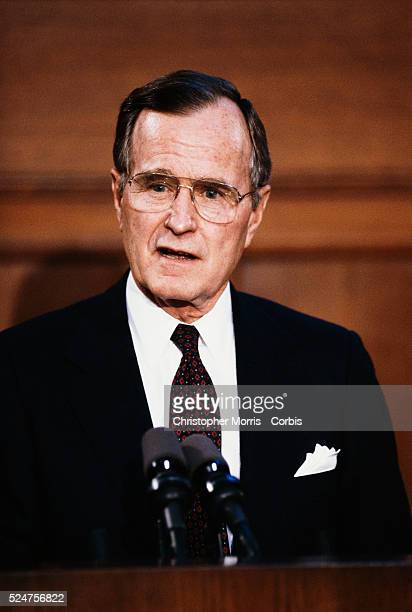 President George Bush speaks at a press conference during the his visit to Ottawa The President met with Canadian Prime Minister Brian Mulroney at...