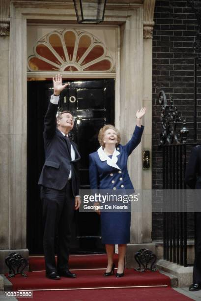 US President George Bush Sr and British Prime Minister Margaret Thatcher outside 10 Downing Street London 1st June 1989