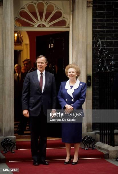 President George Bush Sr and British Prime Minister Margaret Thatcher outside 10 Downing Street London 1st June 1989