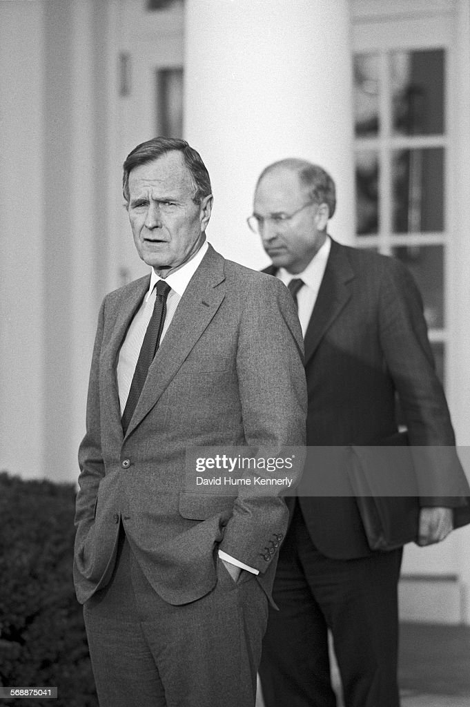 President George HW Bush and Secretary of Defense Dick Cheney in the Rose Garden at the White House talk about the visit of Cheney and Gen Colin...