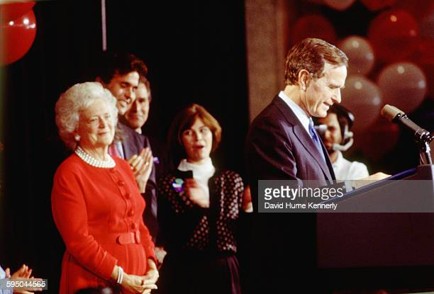 S President George HW Bush delivers his concession speech as First Lady Barbara Bush looks on on election night November 3 1992 in Houston Texas The...